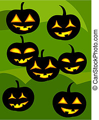 Jack o' lanterns - Many jack o' lanterns over green...
