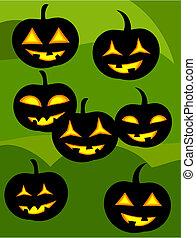 Jack o' lanterns - Many jack o' lanterns over green...