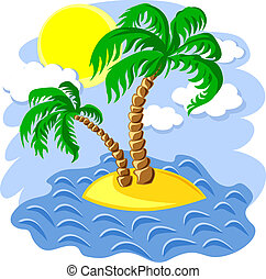 vector two palm trees on an island in the ocean at noon