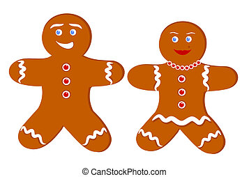 Gingerbread couple - Gingerbread man and woman Illustration...