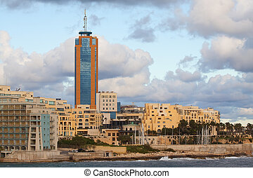 View of Paceville from sea side. Malta