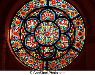 Stained glass in Catholic church - Catholic church stained...