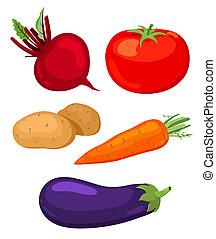 Set of vegetables. - Set of five vegetables.Beet, tomato,...
