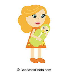 woman with baby on white background