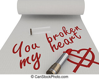 You broken my heart Words on a piece written by lipstick...