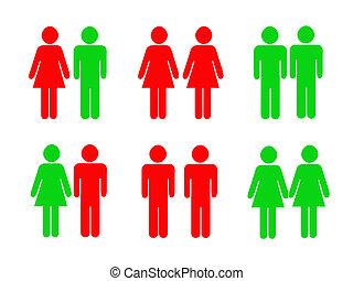 permitido, prohibido, Pictograms, iconos, macho, hembra