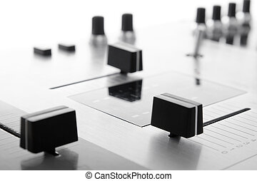 Crossfader of audio mixing controller - Faders on...