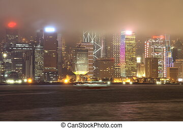 Hong Kong Island in mystical light at foggy night