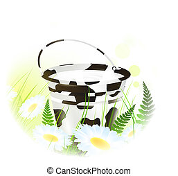 milk bucket at meadow - milk bucket with cow skin over...
