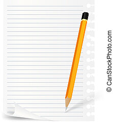 pencil and note sheet - pencil and lined note over white...