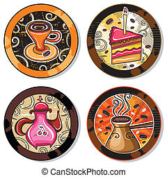 Grunge collection of drink coasters - coffee, tea, yerba...