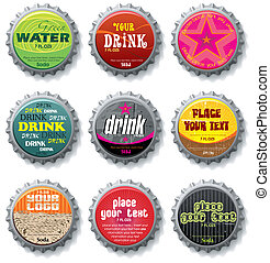 bottle caps 2 - vector set - bottle caps 2 - vector set...