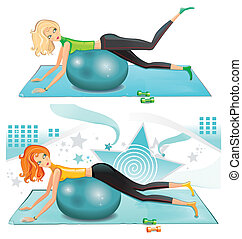 pilates girl - Sexy woman exercising with a pilates ball.