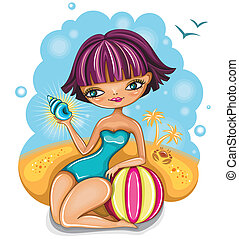 cute girl at the beach - Vector image of cute girl at the...