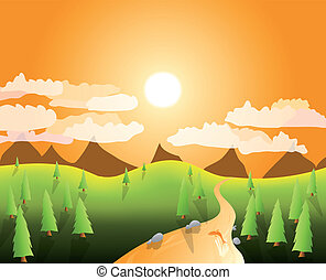mountain landscape - illustration of a sunny mountain...