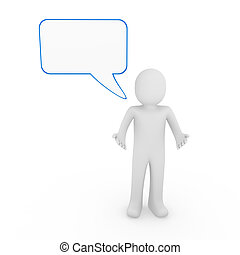 3d human man speak talk communication banner blue