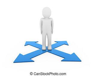 3d man human arrow blue way