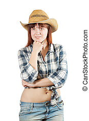 woman in  chequered shirt