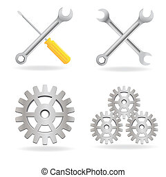 Set of tools icon isolated on white background