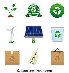 Renewable energy and recycle icon - Set of icons that...