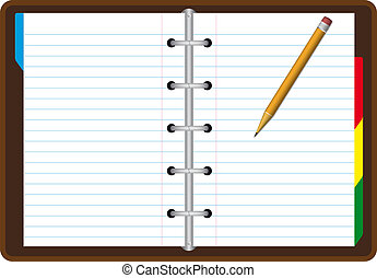 Realistic note book - Blank note book with pencil