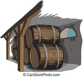 old wine cellar with rows of barrels like woodcut technique