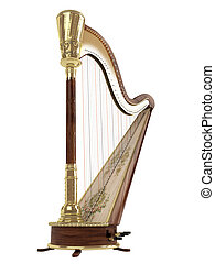 Harp isolated on white background