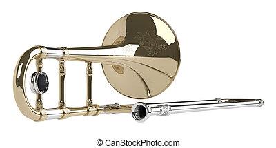 Trombone isolated on white background