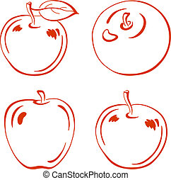 Apple, pictogram - Vector, fruits, set red symbolical...