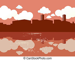 Cityscape waterside Vector illustration