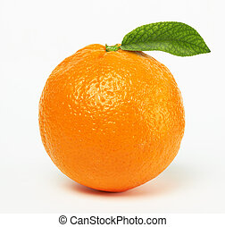 orange with leaf on white background