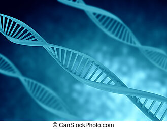 DNA 3d illustration - dna model illustration blue color