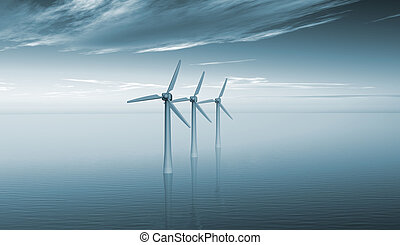 Wind turbines at sea  - Three wind turbines off shore