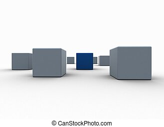 Standing out from the crowd blue cubes business concept