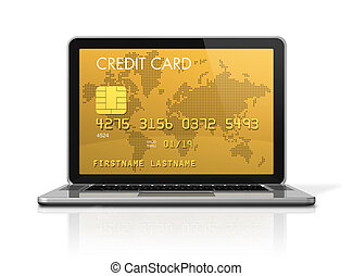 gold credit card on a laptop screen