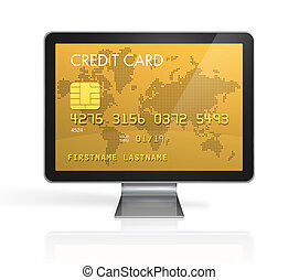 gold credit card on a computer screen