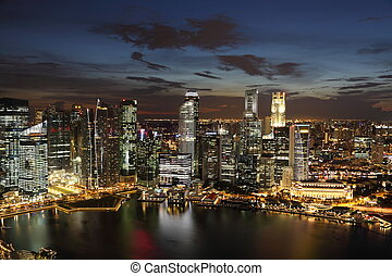 Downtown Skyline Singaporeat twilight. Full view of business...