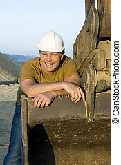 happy smiling consruction worker. - happy smiling...