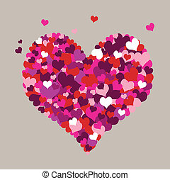 Hearts with a grey background