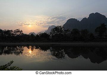 Mountains at Vang Vieng in Laos at sunset