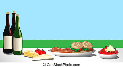 Barbecue - A vector illustration of a barbecue or picnic...