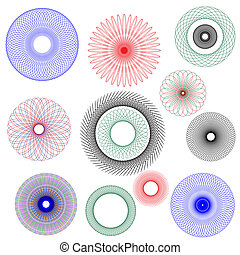 Spirograph - A vector illustration of spirographs in various...