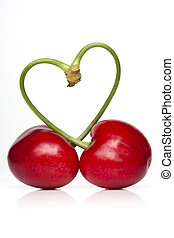 Cherry Love - Pair of cherries against a white backdrop with...