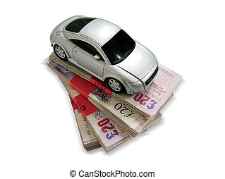 Sports car on banknotes