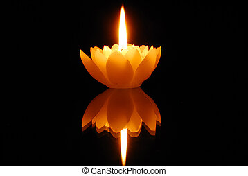 Lotus Candlelight - Candlelight and reflection in dark