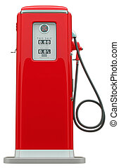 Retro red fuel pump isolated over white background
