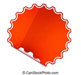 Round Red sticker or label