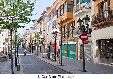 Street in mediterranean town Blanes, Spain
