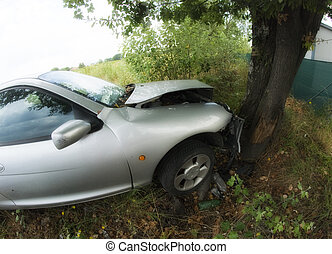 Car against a Tree, Italy - Car Accident against a Tree,...