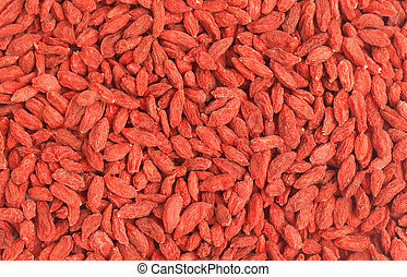 Red goji berries background - Red dried goji berries Lycium...